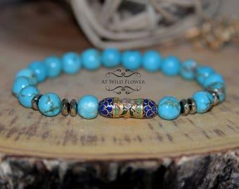 Turquoise Bracelet, Beaded Bracelet, Gemstone Bracelet, Blue Bracelet, Boho Bracelet, Fancy Bracelet, Gift for Her, Gift Idea