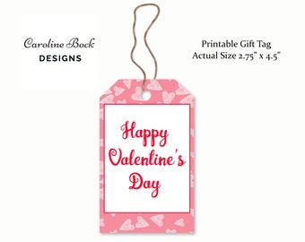 Printable Happy Valentine's Day Gift Tag -  - Valentine Party Ideas - Party Favor Tag - Teacher Gift Idea