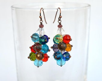 Crystals cluster earrings with copper components Colorful crystal earrings Bright cluster earrings on copper wire Made in Israel art E1254