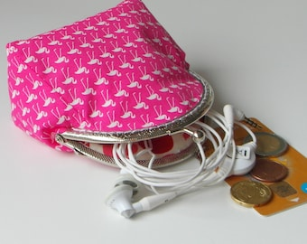 Coin purse, Snap clasp pouch, Pink Flamingo, Cosmetic organizer, Purse for girl, Framed wallet, Xmas gift for her, Womens wallet, Lipstick