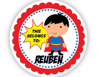 Personalized Name Label Stickers - Red, Yellow, Blue Polka Dot, Superhero Name Tag Stickers - 2 inch Round Tags - Back to School Name Labels