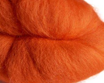 Merino Tangerine Wool Roving 100 grams