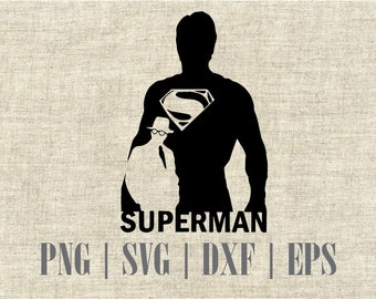 Superman, Man of Steel Silhouette dxf, svg, png and editable eps vector file, Best for vinyl and decal prints
