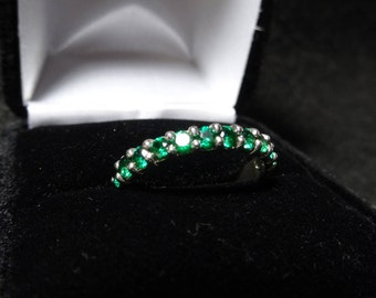 Twelve Stone Green Cubic Zirconia Sterling Silver Ring