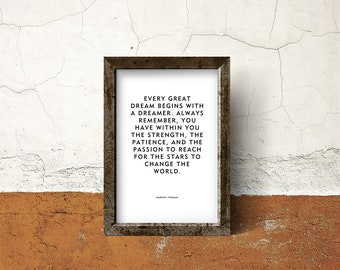"""Motivational Quote Poster or Print """"Every Great Dream"""" Harriet Tubman Quote"""