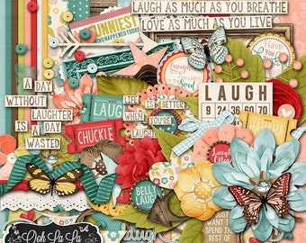 On Sale 50% Take Time To Laugh 12x12 Digital Scrapbooking Kit