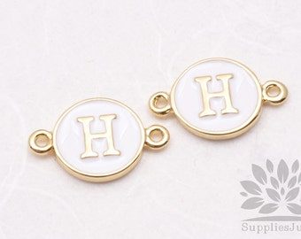 """IP004-G-H// Gold Plated White Epoxy Initial """"H"""" Round Pendant Connector, 2 pcs"""