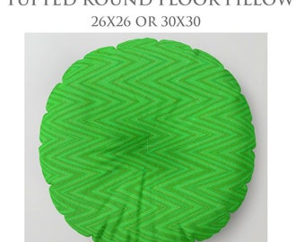 Round Floor Pillow-STUFFED Pillow-Green Floor Pillow-Zig Zag Pillow-Square Floor Pillow-Floor Cushion-Tufted Pillow-Chevron Print Pillow