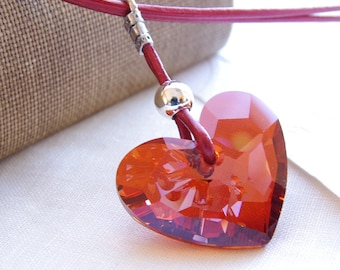 Pendant Red Swarovski Crystal Necklace Heart Jewelry Crystal Heart Necklace Heart Pendant Red Leather Necklace Sterling Silver Jewelry