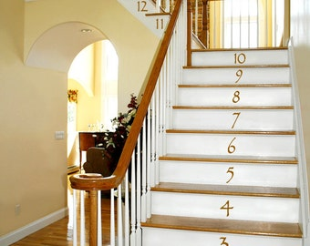 Numbers Vinyl Wall Decals: Vinyl Stair Decals, Stair Stickers, Vinyl Number  Decals,