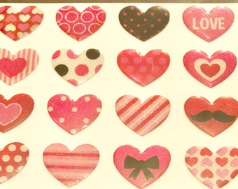 Patterned Heart Stickers