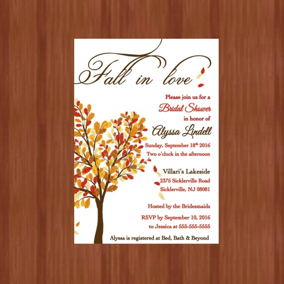 Bridal shower invites before the rings llc printable fall in love bridal shower invitations fall or autum leaves themed shower filmwisefo