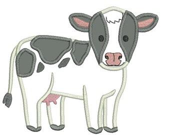 Cow Applique, Cow Design, Cow Embroidery, Cute Black and White Cow Applique, Farm Applique, Farm Design