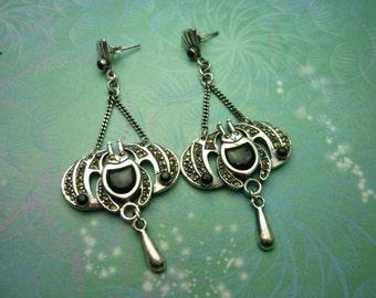Vintage Sterling Silver Earrings - Black Onyx - 925 Hallmarked - Style 24