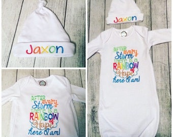 Rainbow Baby - Gown -Bodysuit -Burp Cloth -Bib - Blanket - Hat - Rainbow Baby - Infertility - After Every Storn There's a Rainbow of Hope -