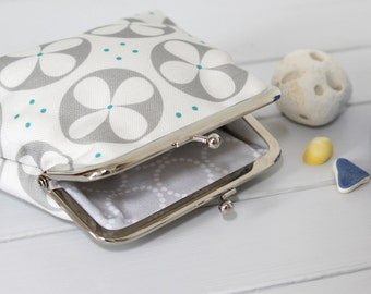 Grey and White Purse in Roundel floral print coin money purse