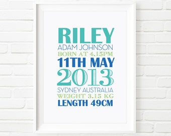 Digital print, custom Birth Print, Typography Nursery wall art, printable art, kids print, baby boy print, baby boy gift, nursery decor