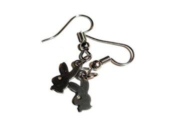 Petite earrings Bunny earrings playboy earrings silver bunny stainless steel small earrings simple earrings tiny earrings gunmetal earrings