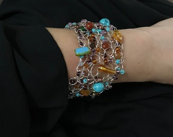 Turquoise and amber silver beaded cuff