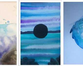 3 watercolor blue and black paintings with oil accenting
