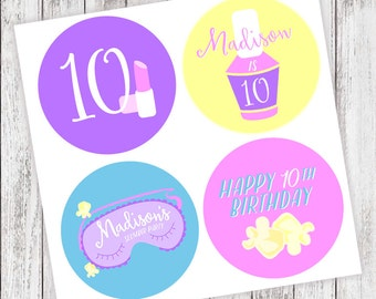 "Slumber #Party #Stickers - Personalized Labels - 2"" Round"