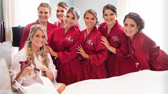 Set of Spa Robes Party Bridesmaid Party Bridal Robe 9 Party Slippers with Monogrammed Bridesmaid Gift Wedding Bridal Robes wRfxYxq0I