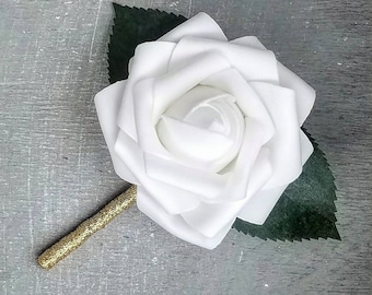 White rose boutonniere, white rose wedding boutonniere, white wedding boutonniere, rose boutonniere, groomsmen wedding boutonniere