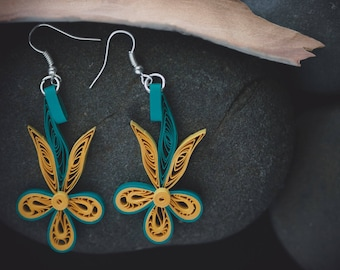 Peacock green and bright yellow earrings/ Long earrings/ Quilling earrings/ Paper earrings/ Quilling jewelry/  Light weight earrings