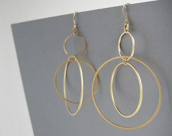 Multi Hoop Earrings - three gold circle, long statement orbital earrings, modern minimalist work jewelry