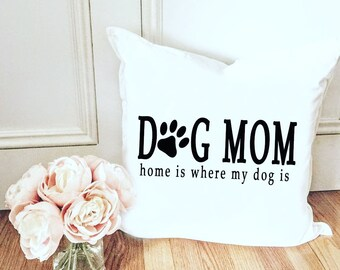Mom Pillow Cover - Dog Lover Pillow Cover - Paw print Pillow Cover - Paw Prints on your heart Pillow - Dog Mom Pillow