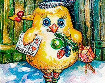 Christmas card chicken, postcard, postcross, print, art