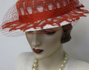 ON SALE/ Red and White Doily Boater