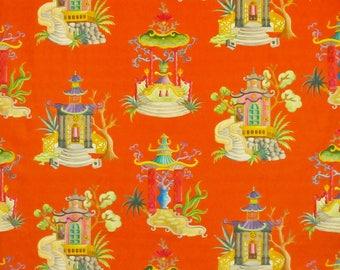 CLARENCE HOUSE ENCHANTED Pagodas Chinoiserie Toile Linen Fabric 10 Yards Cinnabar Multi