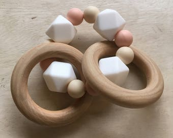 Wood and silicone teething toy