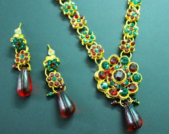 Traditional Necklace Jewelry Indian Wedding Necklace Jewelry Ethnic Wear Gold Plated Necklace Evening Wear Earrings Necklace Set