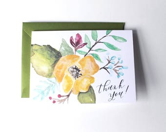 Thank You Watercolor Card // Calligraphy // Painted // Floral