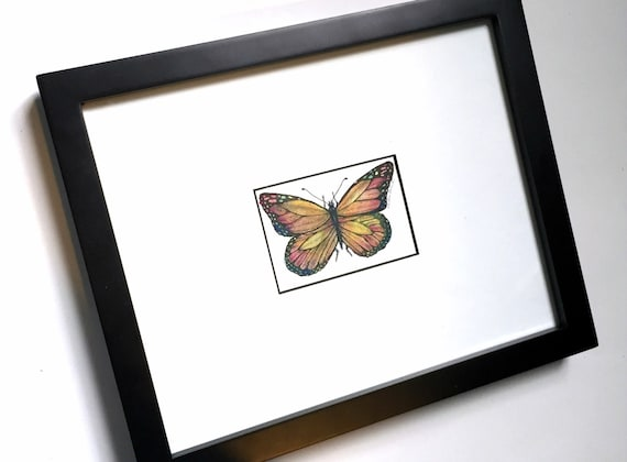 Butterfly Art Original Drawing Framed Butterfly Ink and