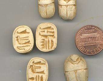 Carved Scarab Beetle Bead, Vintage Egyptian B1854*