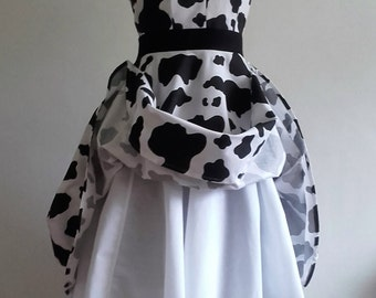 Cow Belle - Handsewn/Handmade Cowprint Cotton Full Swing Dress Available to order in Custom Sizes & Lengths