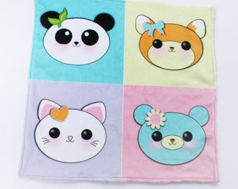 Minky blanket panda blanket fox blanket kitty blanket cat blanket teddy bear blanket lovie blanket security blanket baby blanket custom