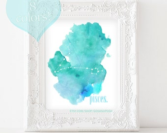Pisces Zodiac Constellation - DIY Instant Digital Download Printable Wall Art - Includes ALL 8 colors