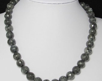 Necklace 19 inch IN Larvikit 12mm faceted and 925 Silver