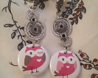 SALE Owl earrings pink