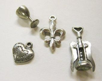 Bracelet / Necklace Charms Jewelry Supply 3 Lifestyle Charms Fleur de Lis / Wine Glass / Corkscrew / Silvertone Assortment