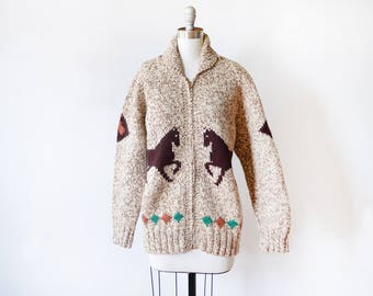 50s horse Cowichan sweater, vintage Mary Maxim wool cardigan, zip up sweater coat, equestrian Prairie Prancer, small medium large