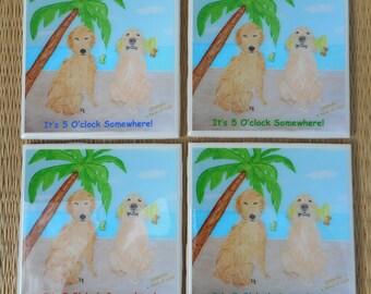 Golden Retriever Coasters - Set of 4 - Dog Coasters - It's 5 O'clock Somewhere - Handmade Tile Coasters
