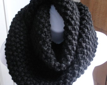 Knit Cowl - Circle Scarf - Knit Infinity Scarf - Ready to Ship - The Reader - Black