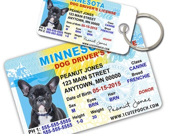 Minnesota Driver License Custom Pet ID Tags and Wallet Card - Dog ID Tag - Personalized Pet ID Tags