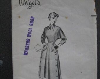1940s Weigels 1209 ~Smartly Designed Dress  ~ Bust 36