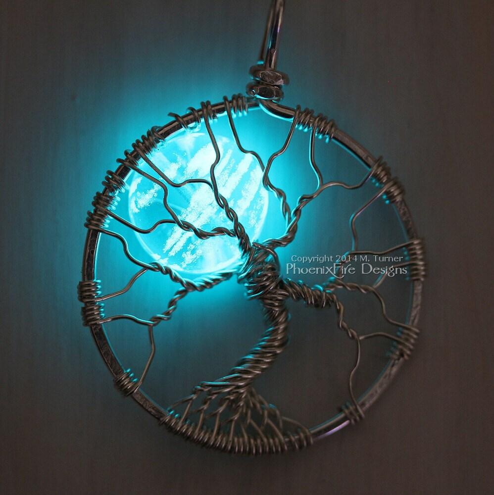 Black Wire Tree Of Life Center 12vregulatedpowersupplycircuitdiagrampng Glow In The Dark Jewelry Full Moon Pendant Rh Etsy Com